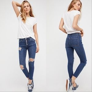 Free people High waisted button fly skinny jeans